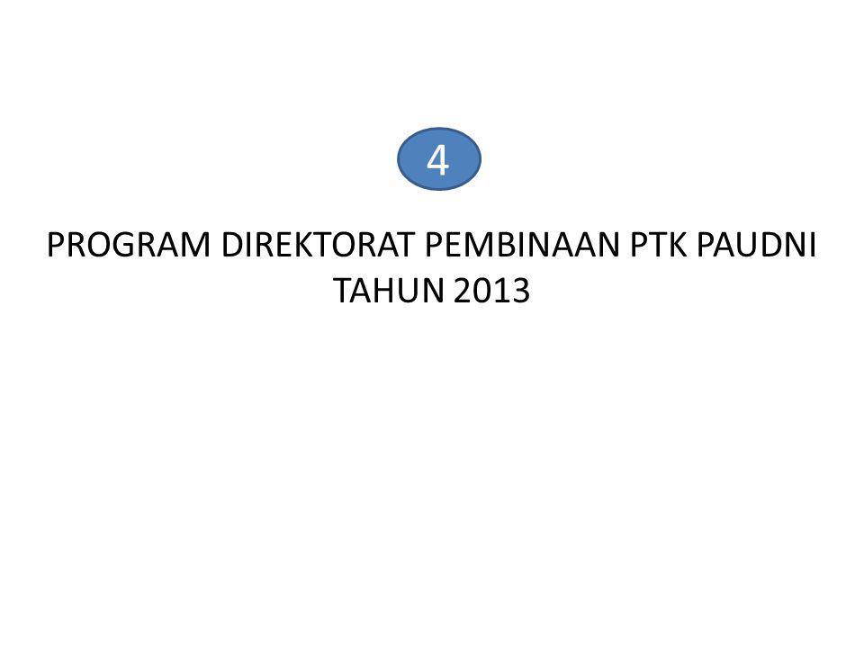 4 PROGRAM DIREKTORAT PEMBINAAN PTK PAUDNI TAHUN 2013