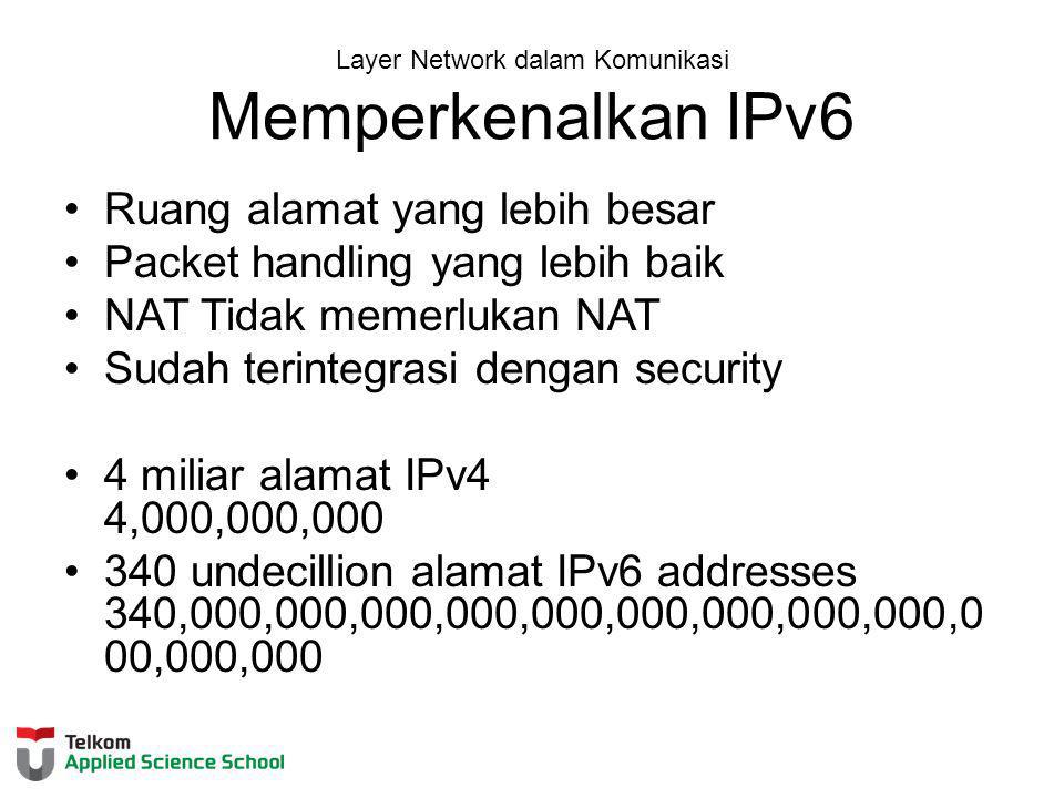 Layer Network dalam Komunikasi Memperkenalkan IPv6 Ruang alamat yang lebih besar Packet handling yang lebih baik NAT Tidak memerlukan NAT Sudah terintegrasi dengan security 4 miliar alamat IPv4 4,000,000,000 340 undecillion alamat IPv6 addresses 340,000,000,000,000,000,000,000,000,000,0 00,000,000