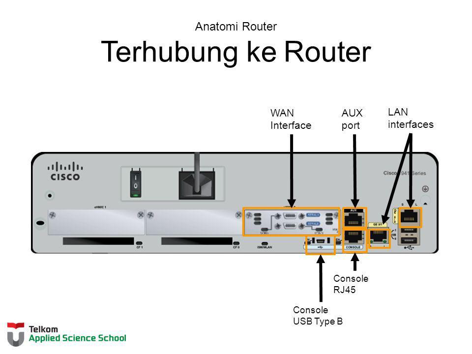 Anatomi Router Terhubung ke Router WAN Interface AUX port LAN interfaces Console USB Type B Console RJ45