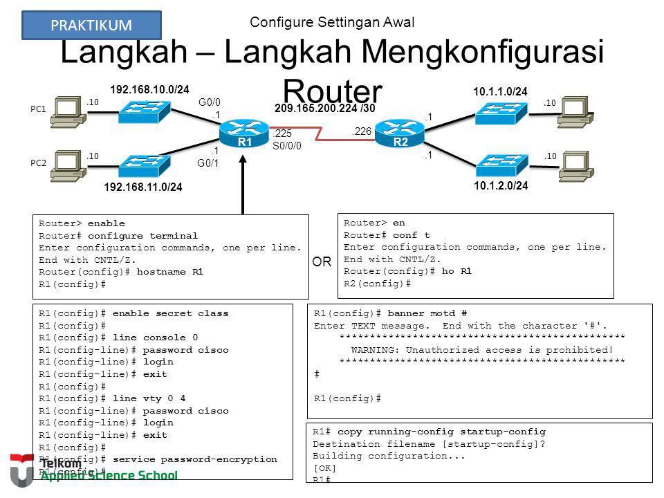 Configure Settingan Awal Langkah – Langkah Mengkonfigurasi Router Router> enable Router# configure terminal Enter configuration commands, one per line.