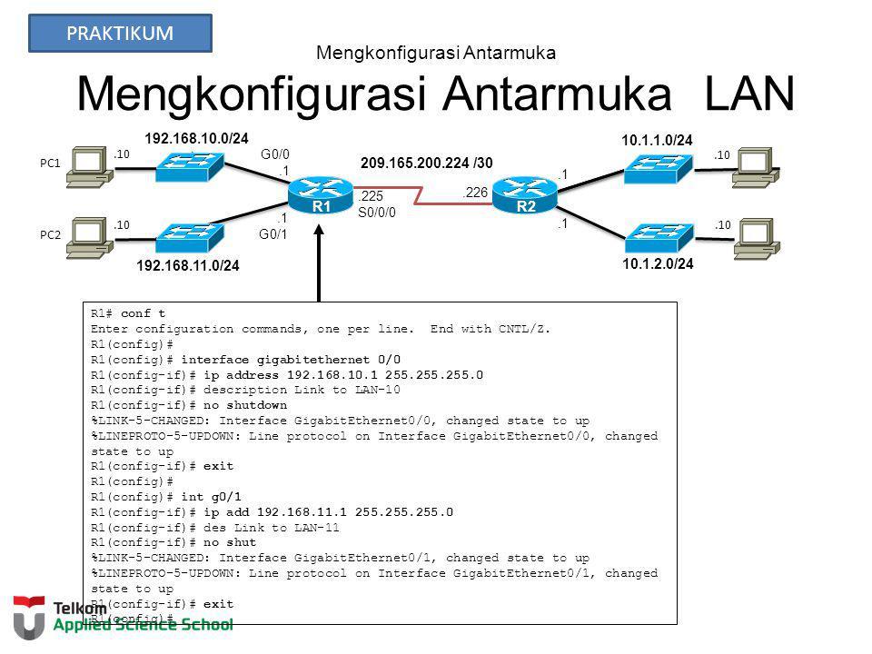 Mengkonfigurasi Antarmuka Mengkonfigurasi Antarmuka LAN 192.168.10.0/24 R2 192.168.11.0/24 10.1.1.0/24 10.1.2.0/24 209.165.200.224 /30.226.10.1 G0/1.225 S0/0/0 G0/0.1 R1 PC1 PC2 R1# conf t Enter configuration commands, one per line.