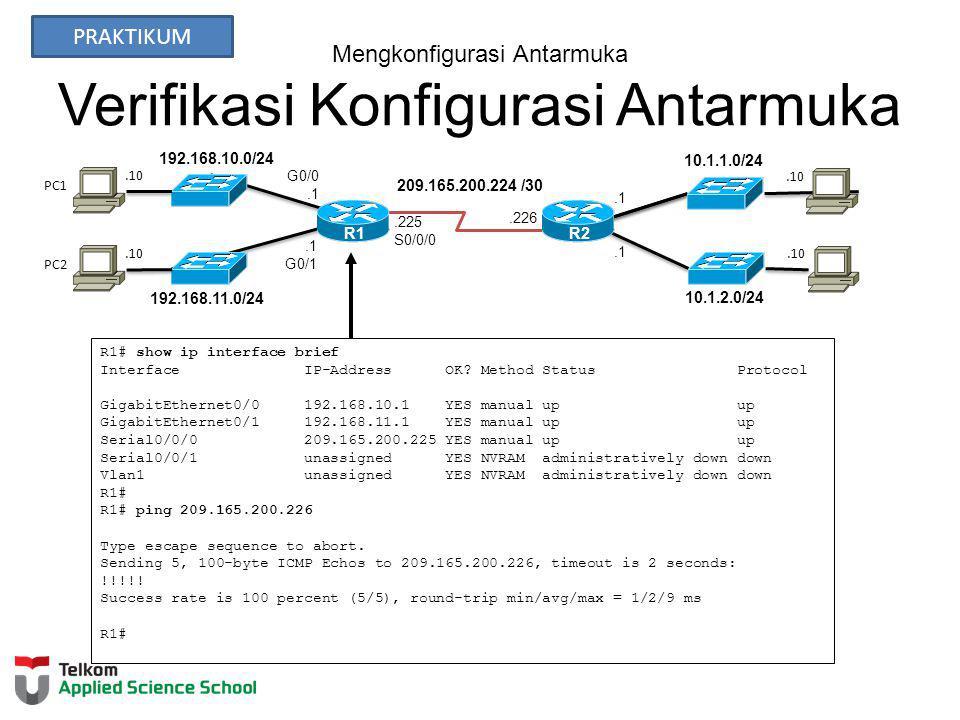 Mengkonfigurasi Antarmuka Verifikasi Konfigurasi Antarmuka 192.168.10.0/24 R2 192.168.11.0/24 10.1.1.0/24 10.1.2.0/24 209.165.200.224 /30.226.10.1 G0/1.225 S0/0/0 G0/0.1 R1 PC1 PC2 R1# show ip interface brief Interface IP-Address OK.