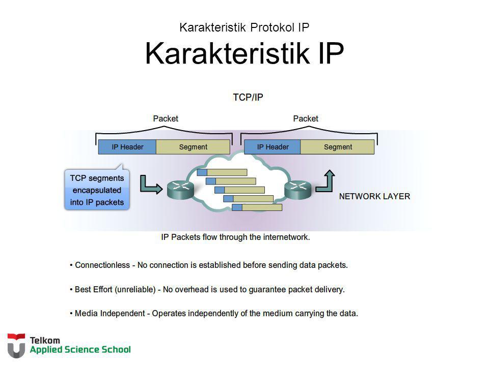 Karakteristik Protokol IP IP - Connectionless