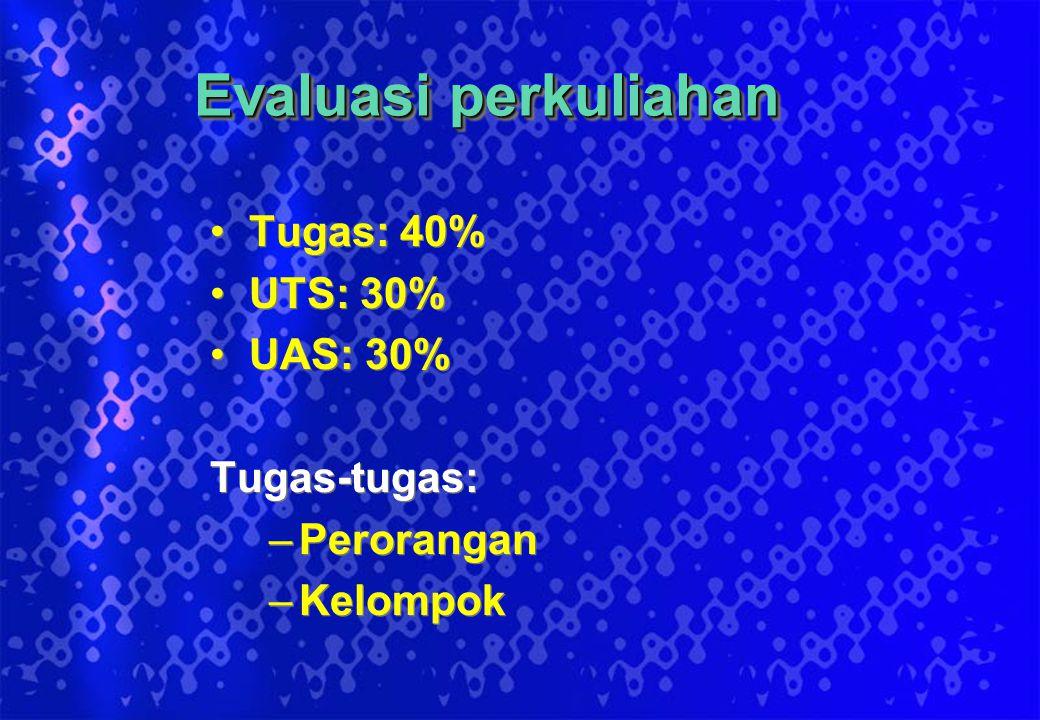 Evaluasi perkuliahan Tugas: 40% UTS: 30% UAS: 30% Tugas-tugas: –Perorangan –Kelompok Tugas: 40% UTS: 30% UAS: 30% Tugas-tugas: –Perorangan –Kelompok