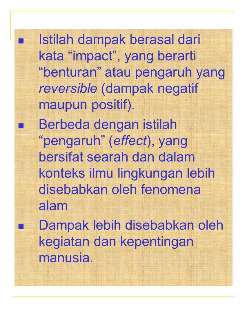 """Istilah dampak berasal dari kata """"impact"""", yang berarti """"benturan"""" atau pengaruh yang reversible (dampak negatif maupun positif). Berbeda dengan istil"""