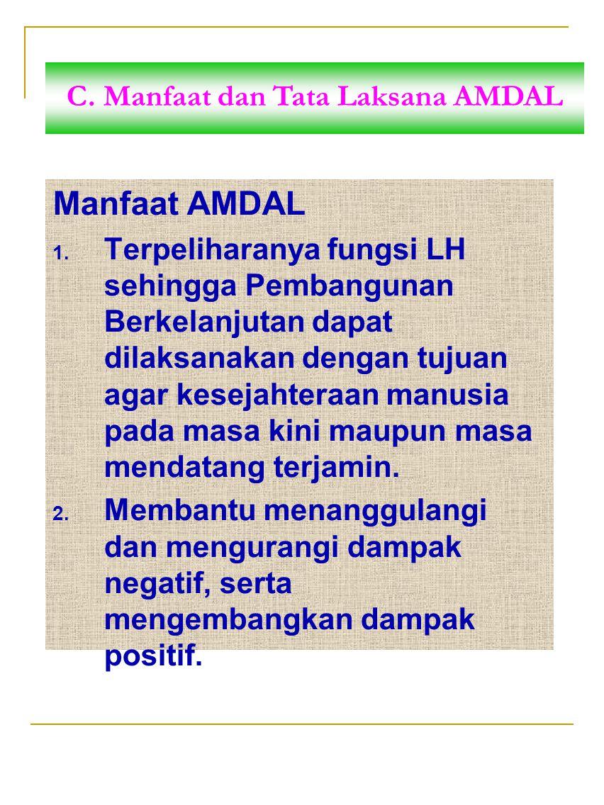 Manfaat AMDAL 1. Terpeliharanya fungsi LH sehingga Pembangunan Berkelanjutan dapat dilaksanakan dengan tujuan agar kesejahteraan manusia pada masa kin