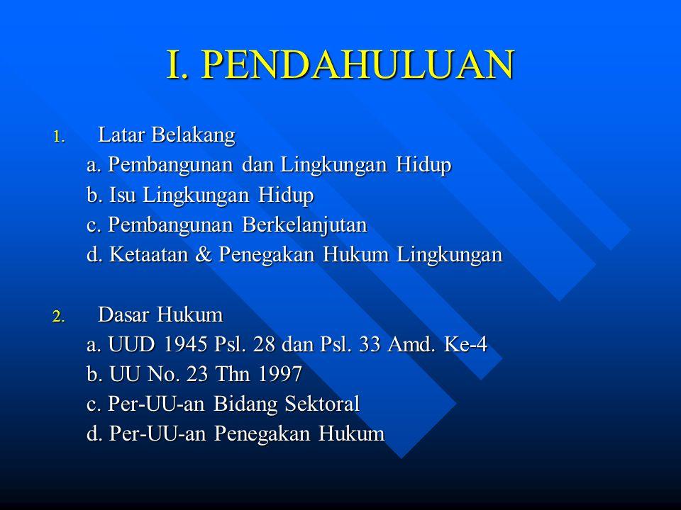 PENGEMBANGAN SISTEM PENEGAKAN HUKUM UU 23 TAHUN 1997 PENGAWASAN 1.Pejabat Pengawas KEMENTERIAN LH 2.Pejabat Pengawas BAPEDAL PROP 3.Pejabat Pengawas BAPEDALDA/ KAB/KOTA Peringatan Lisan dan Tertulis PENYELESAIAN SENGKETA Pasal 30 1.Penyidik Pegawai Negeri Sipil (PPNS) Lingkungan Hidup (Pasal 40) 2.Penyidik POLRI 3.Berdasarkan Asas Subsidiaritas (ULTIMUM REMIDIUM) 4.Tindak Pidana LH adalah KEJAHATAN 1.Paksaan Pemerintahan -Gubernur -Bupati/Walikota 2.Pencabutan Izin Usaha dan atau kegiatan -Pejabat Pemberi Izin -Diajukan Ka.