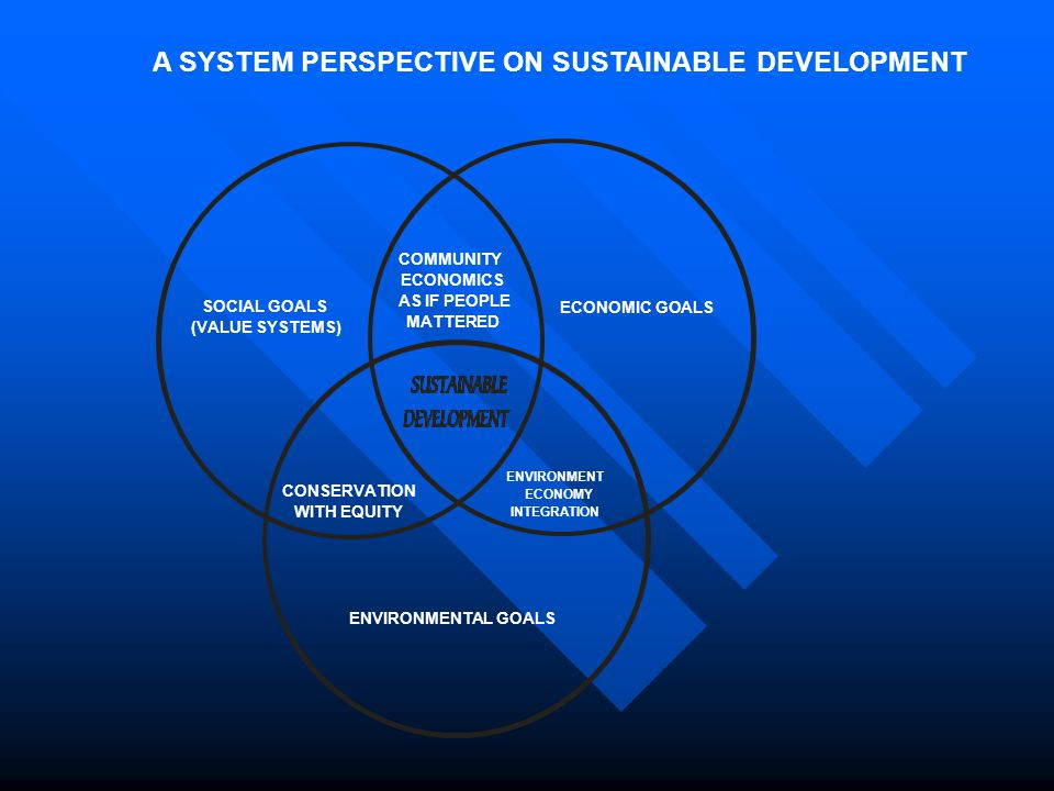 SOCIAL GOALS (VALUE SYSTEMS) COMMUNITY ECONOMICS AS IF PEOPLE MATTERED ECONOMIC GOALS ENVIRONMENTAL GOALS CONSERVATION WITH EQUITY ENVIRONMENT ECONOMY INTEGRATION A SYSTEM PERSPECTIVE ON SUSTAINABLE DEVELOPMENT