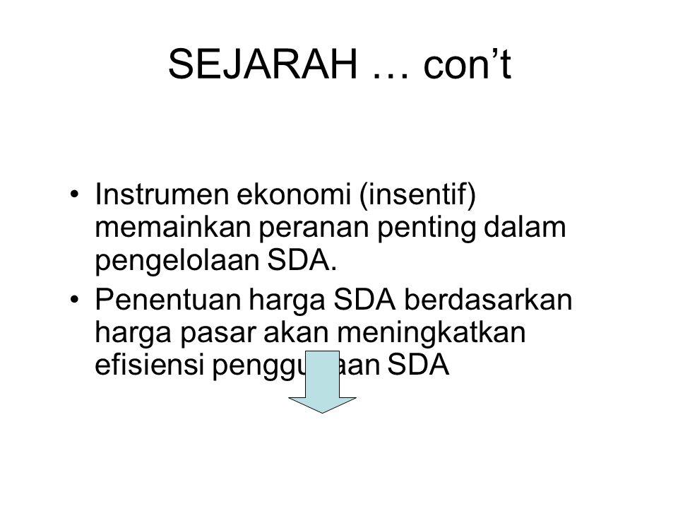 SEJARAH … con't Instrumen ekonomi (insentif) memainkan peranan penting dalam pengelolaan SDA. Penentuan harga SDA berdasarkan harga pasar akan meningk