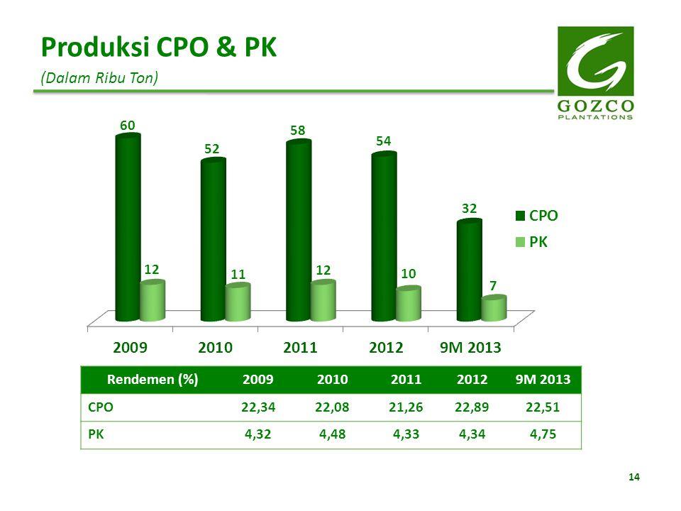 14 Produksi CPO & PK (Dalam Ribu Ton) Rendemen (%)20092010201120129M 2013 CPO22,3422,0821,2622,8922,51 PK4,324,484,334,344,75