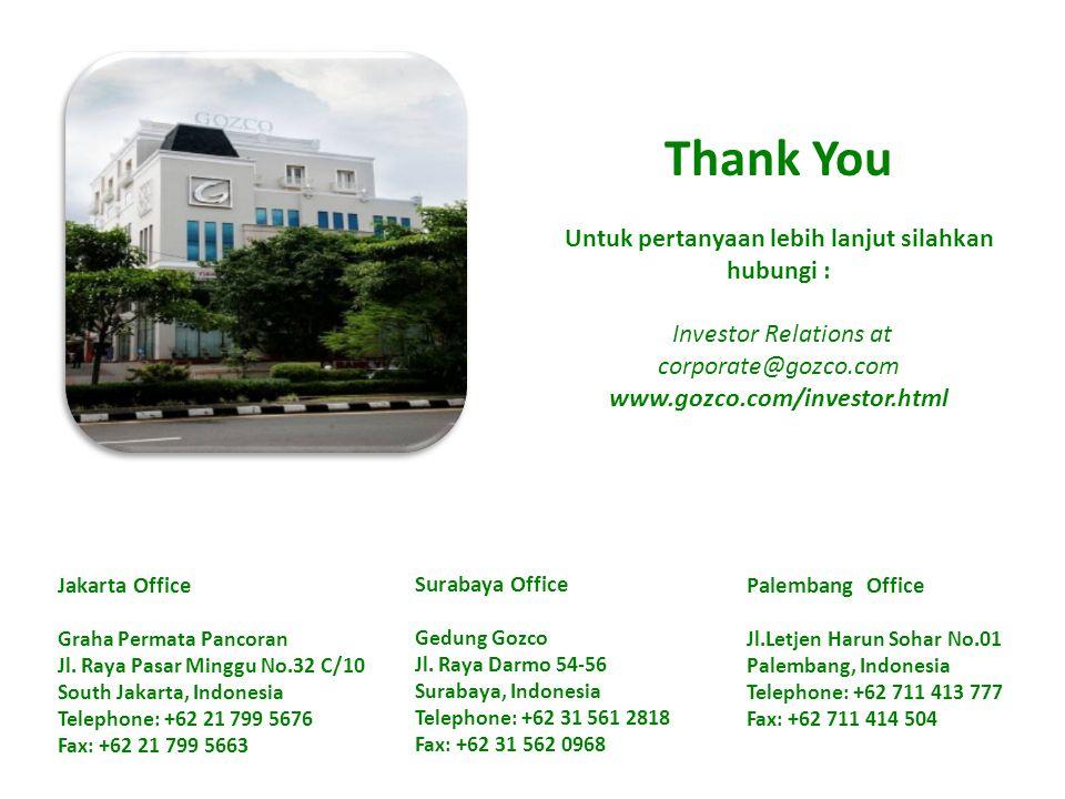 Thank You Untuk pertanyaan lebih lanjut silahkan hubungi : Investor Relations at corporate@gozco.com www.gozco.com/investor.html Jakarta Office Graha