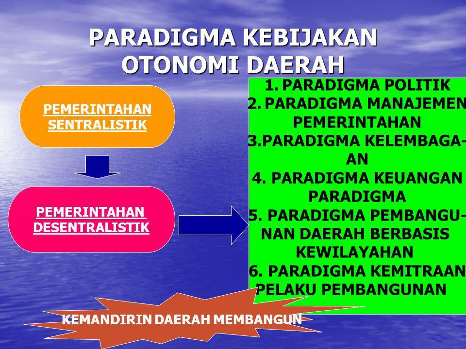 PARADIGMA KEBIJAKAN OTONOMI DAERAH PEMERINTAHAN SENTRALISTIK PEMERINTAHAN DESENTRALISTIK 1.PARADIGMA POLITIK 2.PARADIGMA MANAJEMEN PEMERINTAHAN 3.PARA