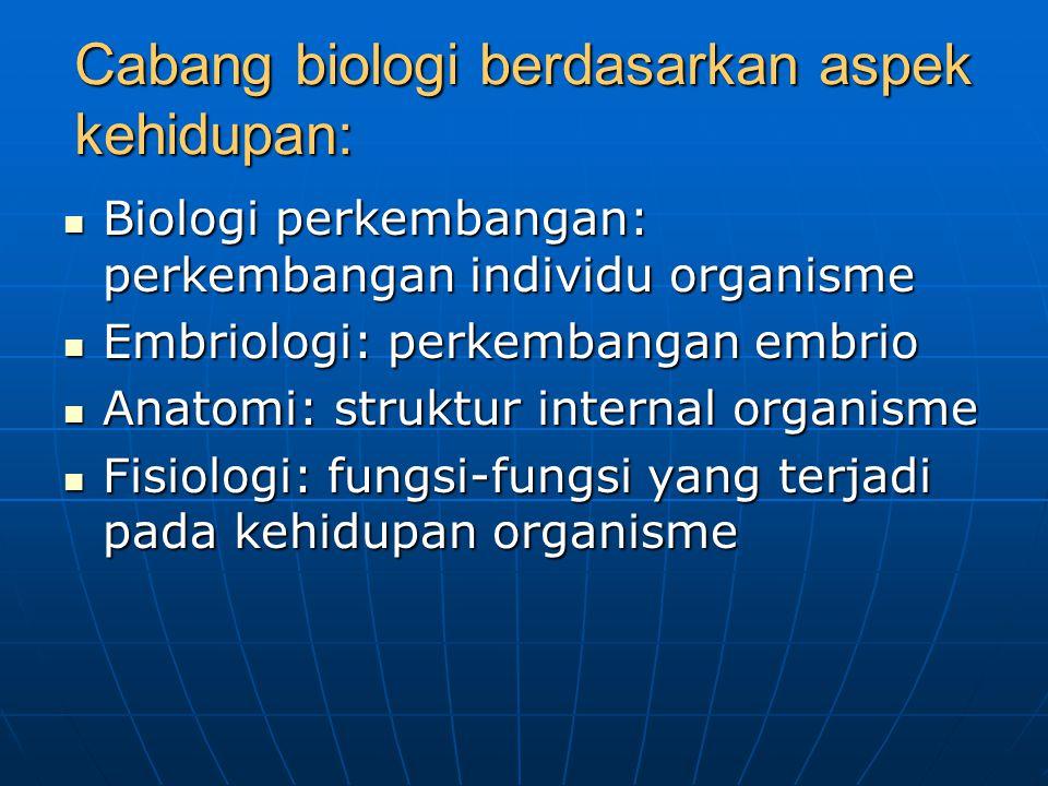 Cabang biologi berdasarkan aspek kehidupan: Biologi perkembangan: perkembangan individu organisme Biologi perkembangan: perkembangan individu organism