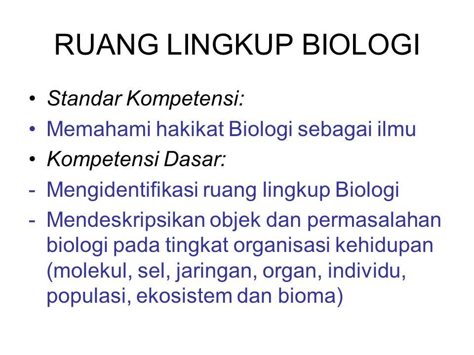 RUANG LINGKUP BIOLOGI Standar Kompetensi: Memahami hakikat Biologi sebagai ilmu Kompetensi Dasar: -Mengidentifikasi ruang lingkup Biologi -Mendeskrips
