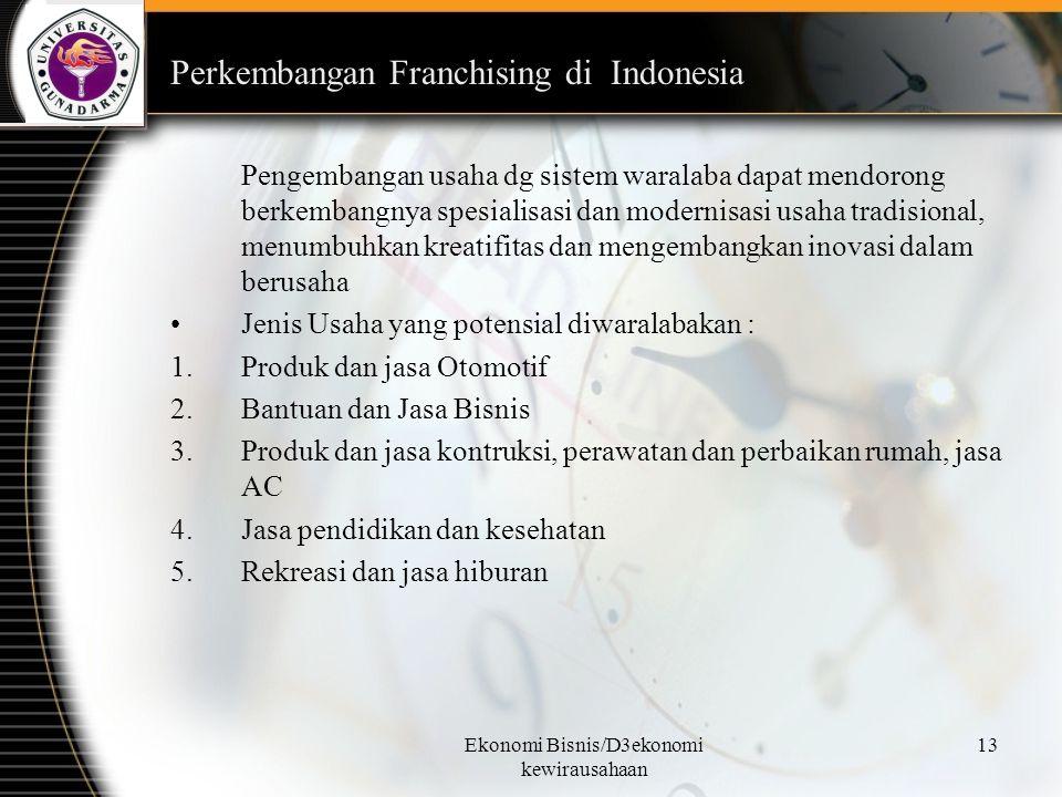 Ekonomi Bisnis/D3ekonomi kewirausahaan 13 Perkembangan Franchising di Indonesia Pengembangan usaha dg sistem waralaba dapat mendorong berkembangnya sp