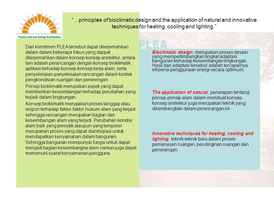 IAN McHARG; Design with Nature SIM VAN DER RYN AND STERLING BURNER; Integral Design NANCY JACK TOOD AND JOHN TOOD; Bioshelter, Ocean Arks and City Farming: Ecology as the Basis of Design HASSAN FATHY; Natural Energy and Vernacular Architecture KENNETH YEANG; Tropical Urban Regionalism CHRISTOPHER DAY; Places of the Soul JAMES WINE; Architect's Statement TEAM ZOO/ATELIER ZO; Principles of Design BRENDA AND ROBERT VALE; Green Architecture WILLIAM McDONOUGH; The Hannover Principles PETER CALTHORPE; The Next American Metropolis KENNETH YEANG; Bioclimatic Skycrapers SIM VAN DER RYN AND STUART COWAN; Ecological Design Dalam beberapa prinsip masing-masing arsitek mempunyai kesamaan dalam melakukan respon terhadap kondisi alam.