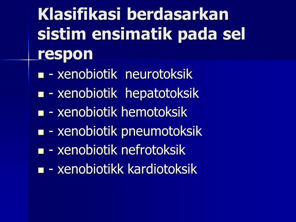 Klasifikasi berdasarkan sistim ensimatik pada sel respon - xenobiotik neurotoksik - xenobiotik neurotoksik - xenobiotik hepatotoksik - xenobiotik hepatotoksik - xenobiotik hemotoksik - xenobiotik hemotoksik - xenobiotik pneumotoksik - xenobiotik pneumotoksik - xenobiotik nefrotoksik - xenobiotik nefrotoksik - xenobiotikk kardiotoksik - xenobiotikk kardiotoksik