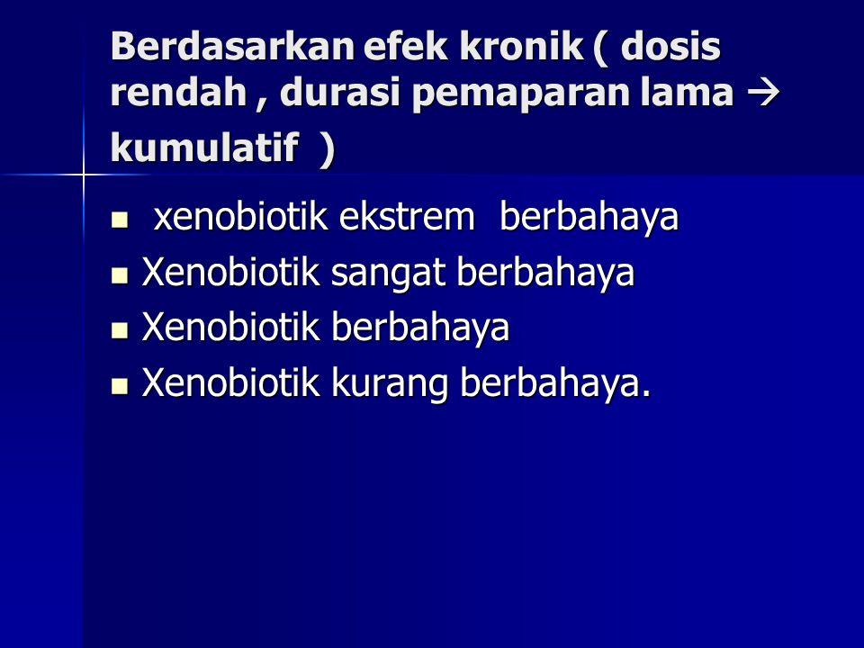 Berdasarkan efek kronik ( dosis rendah, durasi pemaparan lama  kumulatif ) xenobiotik ekstrem berbahaya xenobiotik ekstrem berbahaya Xenobiotik sangat berbahaya Xenobiotik sangat berbahaya Xenobiotik berbahaya Xenobiotik berbahaya Xenobiotik kurang berbahaya.