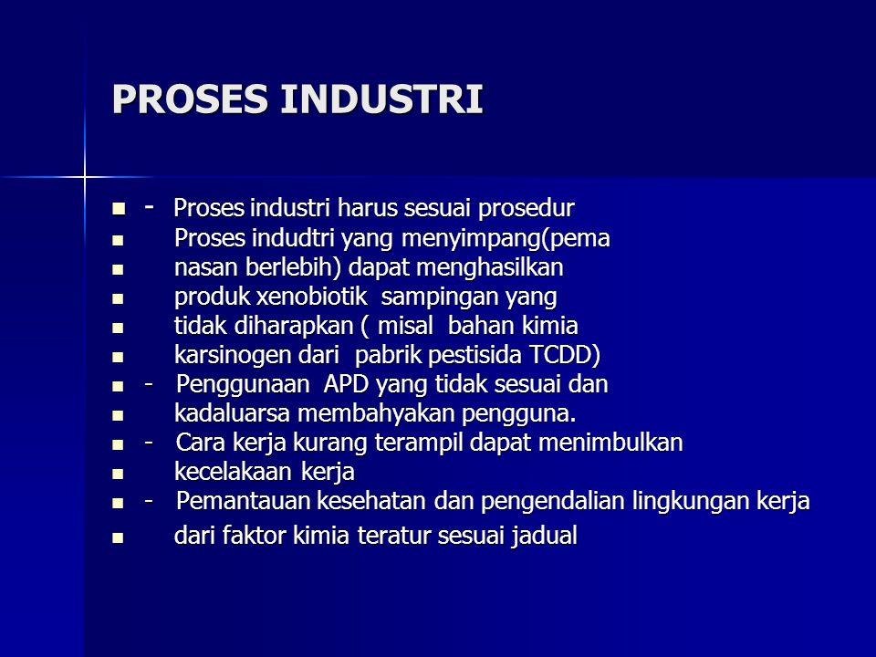 PROSES INDUSTRI - Proses industri harus sesuai prosedur - Proses industri harus sesuai prosedur Proses indudtri yang menyimpang(pema Proses indudtri yang menyimpang(pema nasan berlebih) dapat menghasilkan nasan berlebih) dapat menghasilkan produk xenobiotik sampingan yang produk xenobiotik sampingan yang tidak diharapkan ( misal bahan kimia tidak diharapkan ( misal bahan kimia karsinogen dari pabrik pestisida TCDD) karsinogen dari pabrik pestisida TCDD) - Penggunaan APD yang tidak sesuai dan - Penggunaan APD yang tidak sesuai dan kadaluarsa membahyakan pengguna.