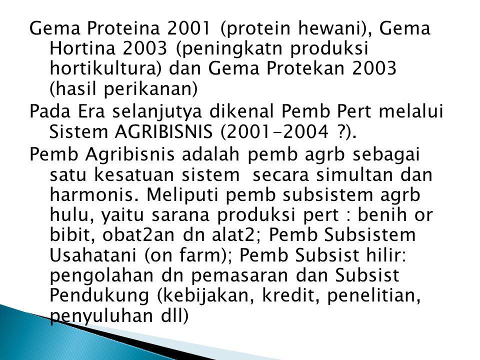 Gema Proteina 2001 (protein hewani), Gema Hortina 2003 (peningkatn produksi hortikultura) dan Gema Protekan 2003 (hasil perikanan) Pada Era selanjutya dikenal Pemb Pert melalui Sistem AGRIBISNIS (2001-2004 ?).