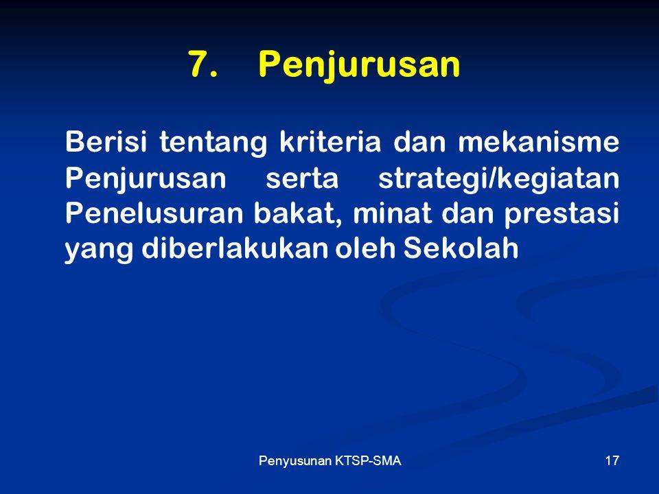 Penyusunan KTSP-SMA17 7. Penjurusan Berisi tentang kriteria dan mekanisme Penjurusan serta strategi/kegiatan Penelusuran bakat, minat dan prestasi yan