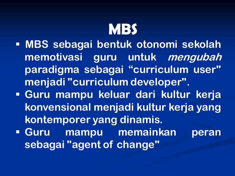 """MBS  MBS sebagai bentuk otonomi sekolah memotivasi guru untuk mengubah paradigma sebagai """"curriculum user"""