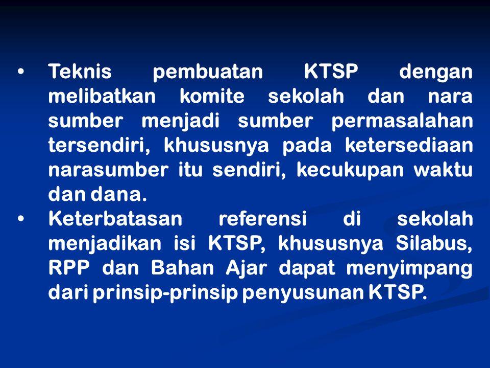 Teknis pembuatan KTSP dengan melibatkan komite sekolah dan nara sumber menjadi sumber permasalahan tersendiri, khususnya pada ketersediaan narasumber