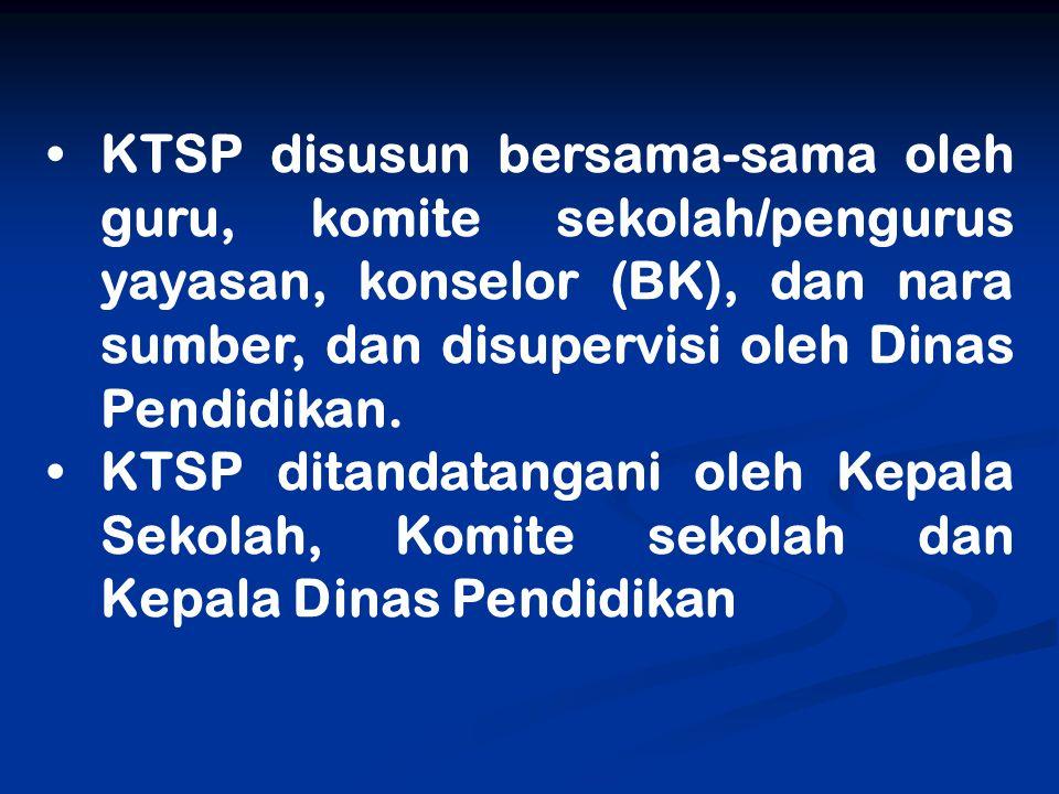 KTSP disusun bersama-sama oleh guru, komite sekolah/pengurus yayasan, konselor (BK), dan nara sumber, dan disupervisi oleh Dinas Pendidikan. KTSP dita