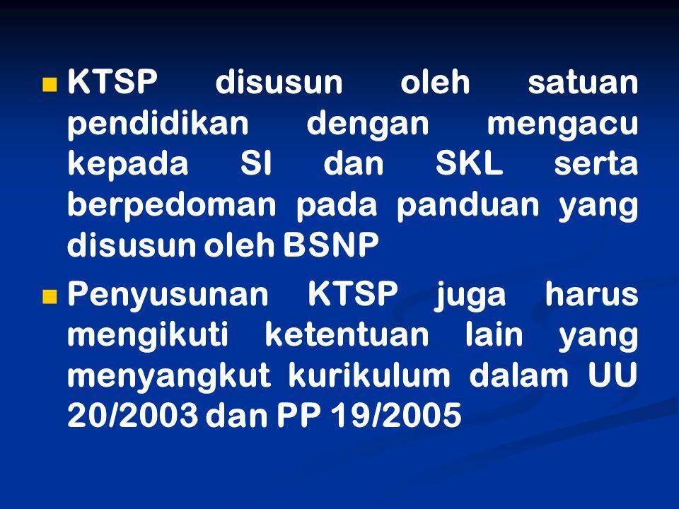 KTSP disusun oleh satuan pendidikan dengan mengacu kepada SI dan SKL serta berpedoman pada panduan yang disusun oleh BSNP Penyusunan KTSP juga harus m