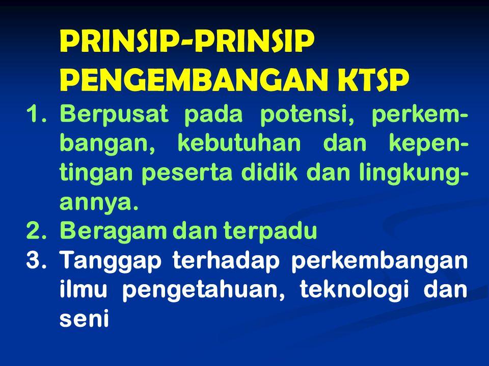 PRINSIP-PRINSIP PENGEMBANGAN KTSP 1.Berpusat pada potensi, perkem- bangan, kebutuhan dan kepen- tingan peserta didik dan lingkung- annya. 2.Beragam da