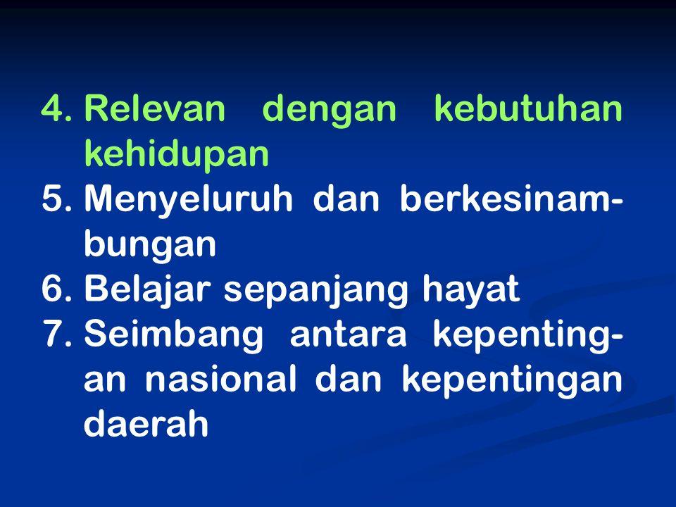 4.Relevan dengan kebutuhan kehidupan 5.Menyeluruh dan berkesinam- bungan 6.Belajar sepanjang hayat 7.Seimbang antara kepenting- an nasional dan kepent