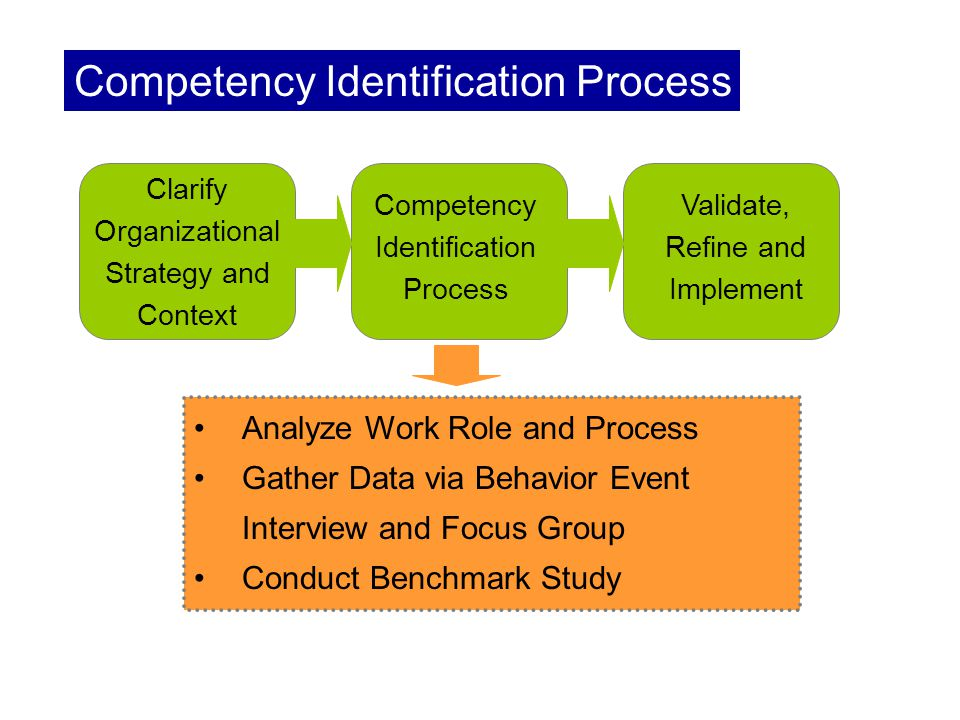 Clarify Organizational Strategy and Context Competency Identification Process Analyze Work Role and Process Gather Data via Behavior Event Interview and Focus Group Conduct Benchmark Study Validate, Refine and Implement Competency Identification Process