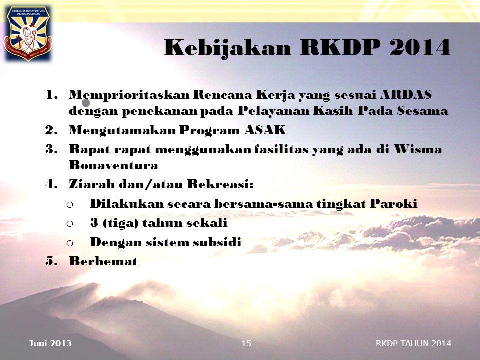 Kebijakan RKDP 2014 1.Memprioritaskan Rencana Kerja yang sesuai ARDAS dengan penekanan pada Pelayanan Kasih Pada Sesama 2.Mengutamakan Program ASAK 3.