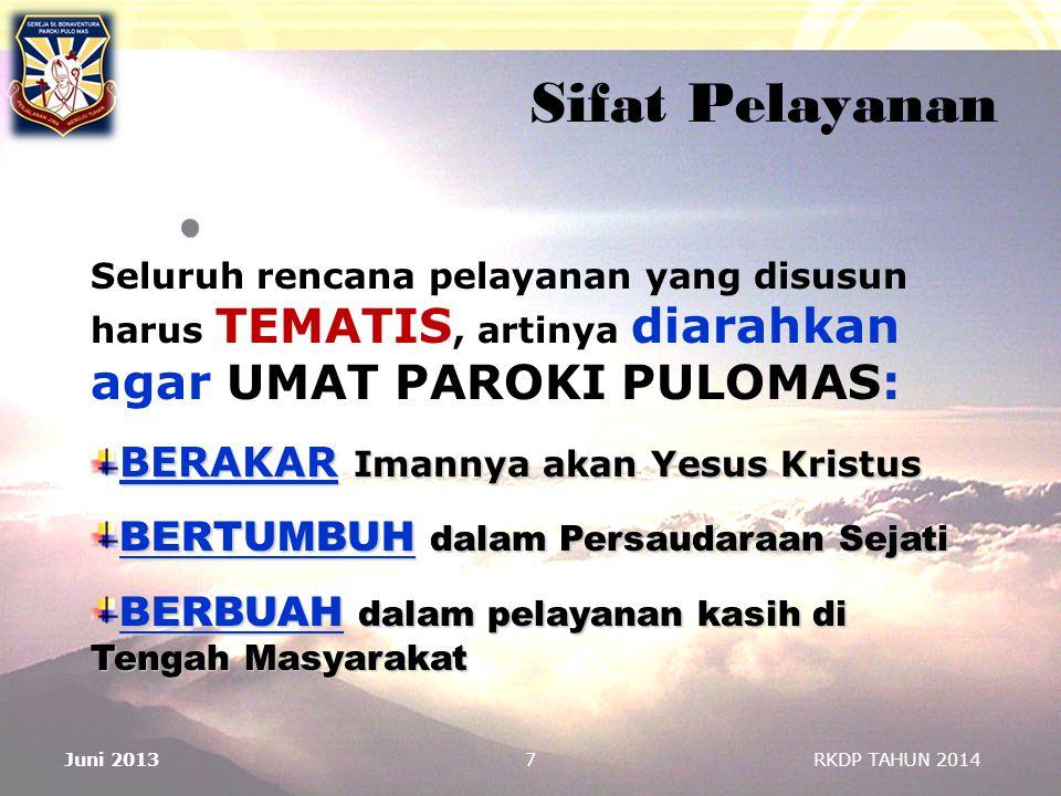 7 Sifat Pelayanan Seluruh rencana pelayanan yang disusun harus TEMATIS, artinya diarahkan agar UMAT PAROKI PULOMAS: BERAKAR Imannya akan Yesus Kristus