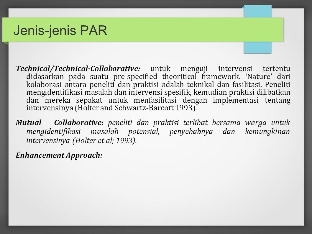 Prinsip-prinsip kerja PAR Participatory : organisasi dan warga komunitas secara aktif dan kolabratif terlibat dalam pelbagai aspek penelitian.