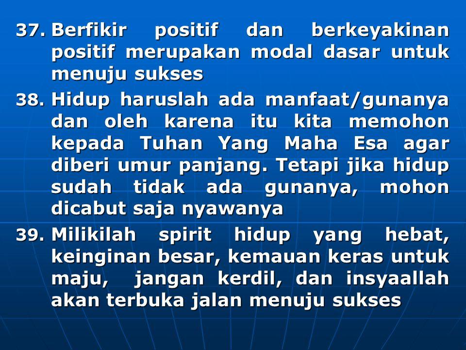 37.Berfikir positif dan berkeyakinan positif merupakan modal dasar untuk menuju sukses 38.