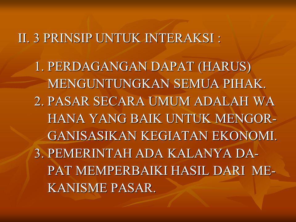 II. 3 PRINSIP UNTUK INTERAKSI : 1. PERDAGANGAN DAPAT (HARUS) 1.