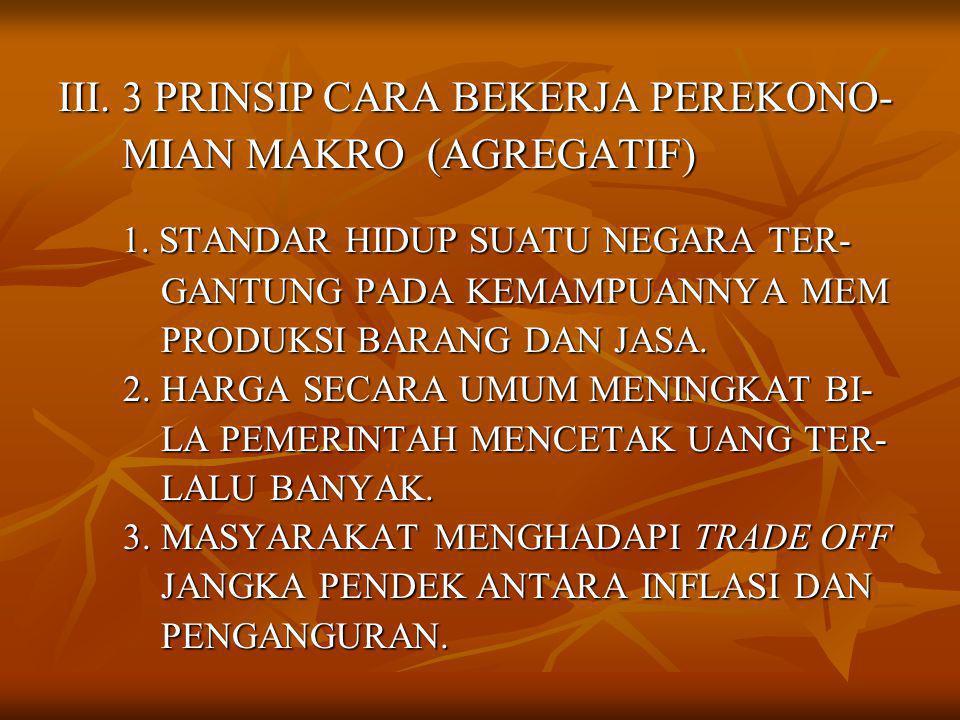 III. 3 PRINSIP CARA BEKERJA PEREKONO- MIAN MAKRO (AGREGATIF) MIAN MAKRO (AGREGATIF) 1.