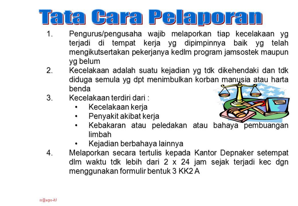 TATA CARA PELAPORAN & PEMERIKSAAN KECELAKAAN Dasar Hukum : 1.Pasal 11 UU No. 1 Tahun 1970 2.UU No. 3 Tahun 1992 ttg Jamsostek 3.Standar Nasional Indon