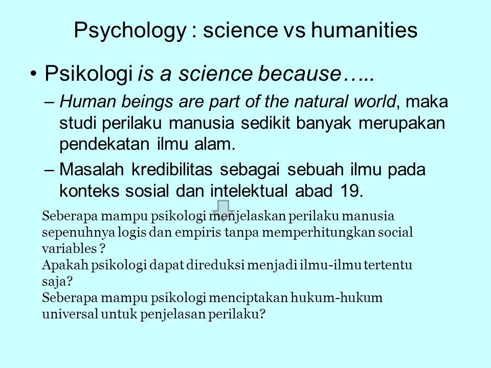 Psychology : science vs humanities Manusia memiliki tubuh fisik.
