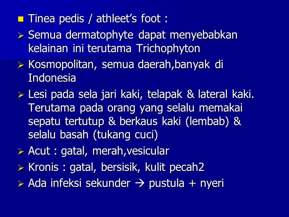 Tinea pedis / athleet's foot : Tinea pedis / athleet's foot :  Semua dermatophyte dapat menyebabkan kelainan ini terutama Trichophyton  Kosmopolitan