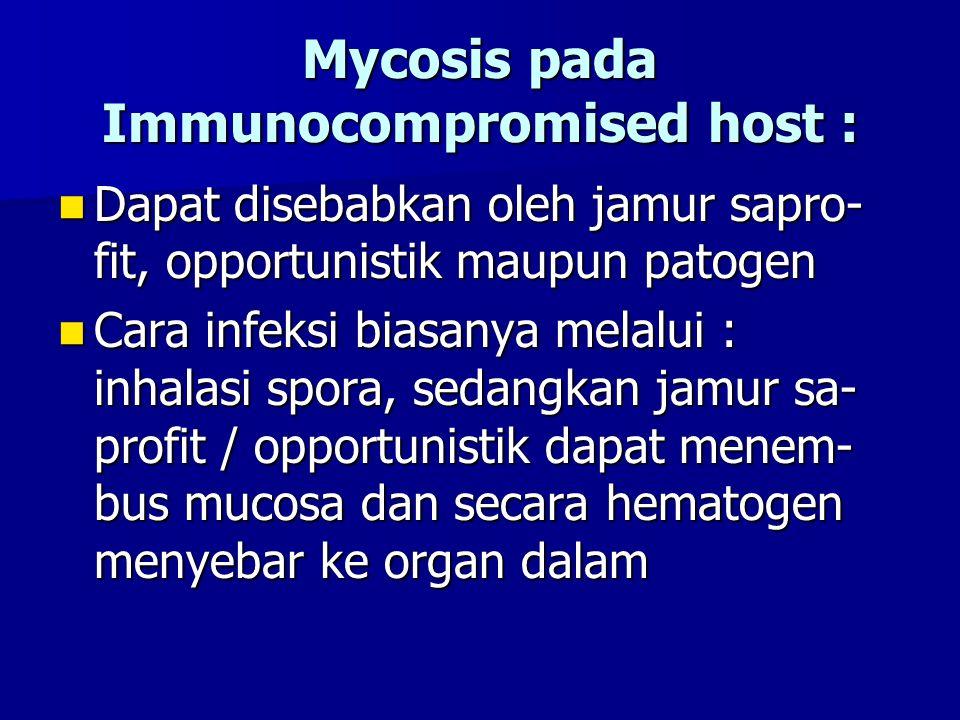 Mycosis pada Immunocompromised host : Dapat disebabkan oleh jamur sapro- fit, opportunistik maupun patogen Dapat disebabkan oleh jamur sapro- fit, opp
