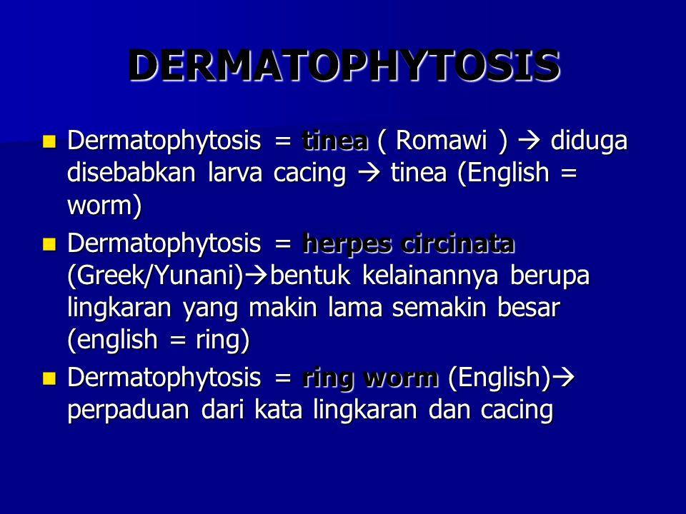 DERMATOPHYTOSIS Dermatophytosis = tinea ( Romawi )  diduga disebabkan larva cacing  tinea (English = worm) Dermatophytosis = tinea ( Romawi )  didu