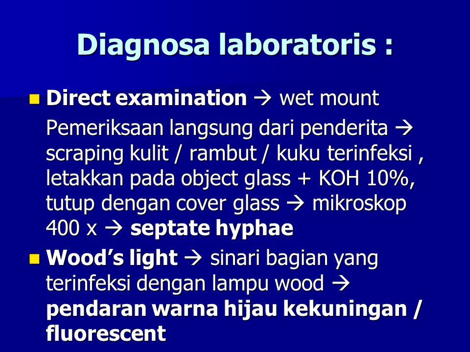Diagnosa laboratoris : Direct examination  wet mount Direct examination  wet mount Pemeriksaan langsung dari penderita  scraping kulit / rambut / k