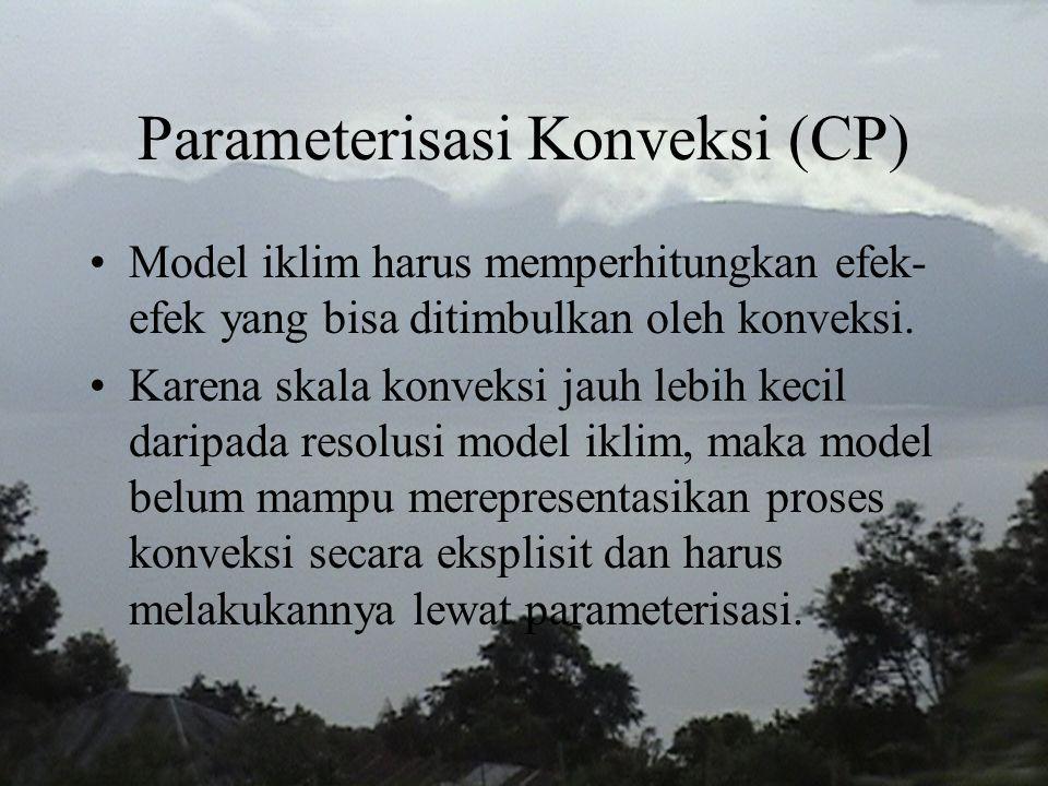 Parameterisasi Konveksi (CP) Model iklim harus memperhitungkan efek- efek yang bisa ditimbulkan oleh konveksi. Karena skala konveksi jauh lebih kecil