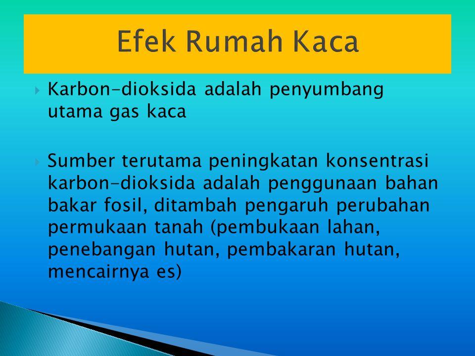 Efek Rumah Kaca  Karbon-dioksida adalah penyumbang utama gas kaca  Sumber terutama peningkatan konsentrasi karbon-dioksida adalah penggunaan bahan bakar fosil, ditambah pengaruh perubahan permukaan tanah (pembukaan lahan, penebangan hutan, pembakaran hutan, mencairnya es)