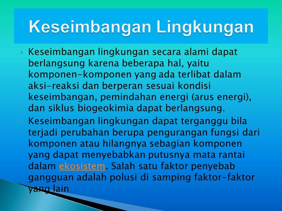 Perubahan Lingkungan  Perubahan lingkungan mempengaruhi berbagai aspek kehidupan.
