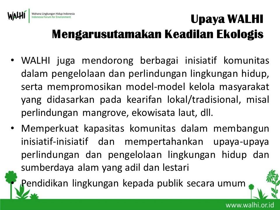 WALHI juga mendorong berbagai inisiatif komunitas dalam pengelolaan dan perlindungan lingkungan hidup, serta mempromosikan model-model kelola masyarak