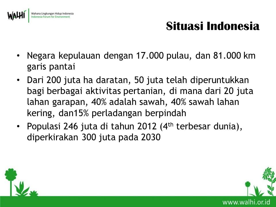 Situasi Indonesia Negara kepulauan dengan 17.000 pulau, dan 81.000 km garis pantai Dari 200 juta ha daratan, 50 juta telah diperuntukkan bagi berbagai aktivitas pertanian, di mana dari 20 juta lahan garapan, 40% adalah sawah, 40% sawah lahan kering, dan15% perladangan berpindah Populasi 246 juta di tahun 2012 (4 th terbesar dunia), diperkirakan 300 juta pada 2030