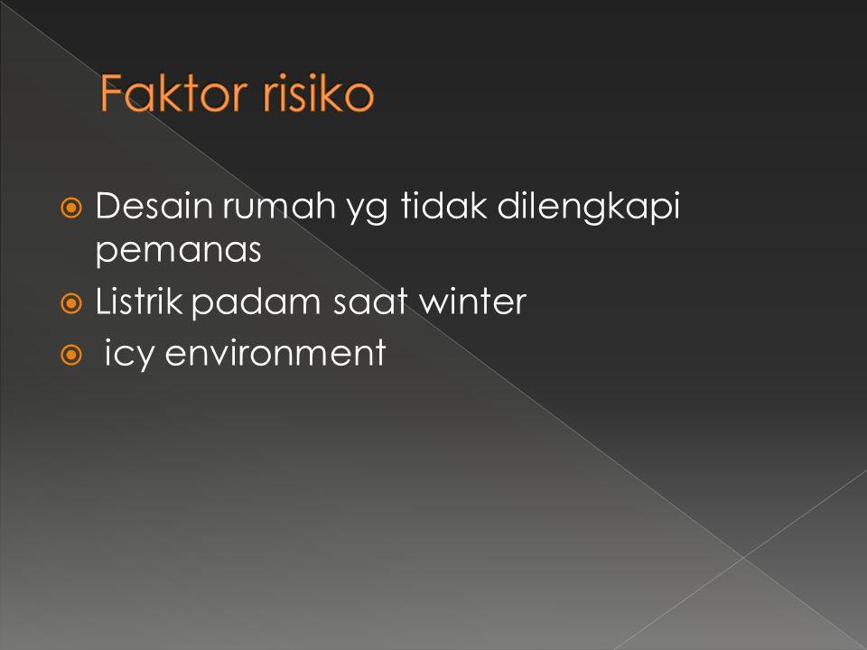 Desain rumah yg tidak dilengkapi pemanas  Listrik padam saat winter  icy environment